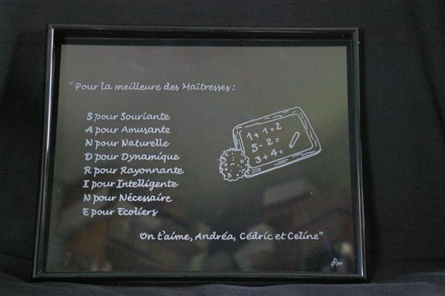 Cadre en verre gravé et personnalisé pour une maitresse en cadeau de fin d'année