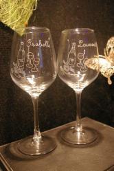 Duo de verres a vin personnalise