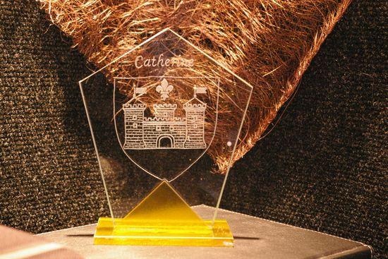 trophée en verre gravé d'après votre Logo