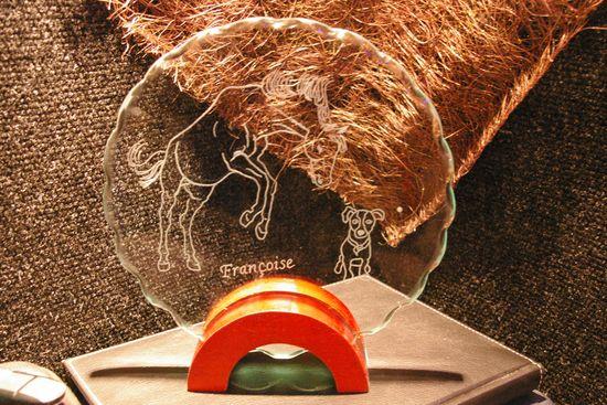Trophée en verre avec support bois personnalisé d'un cheval