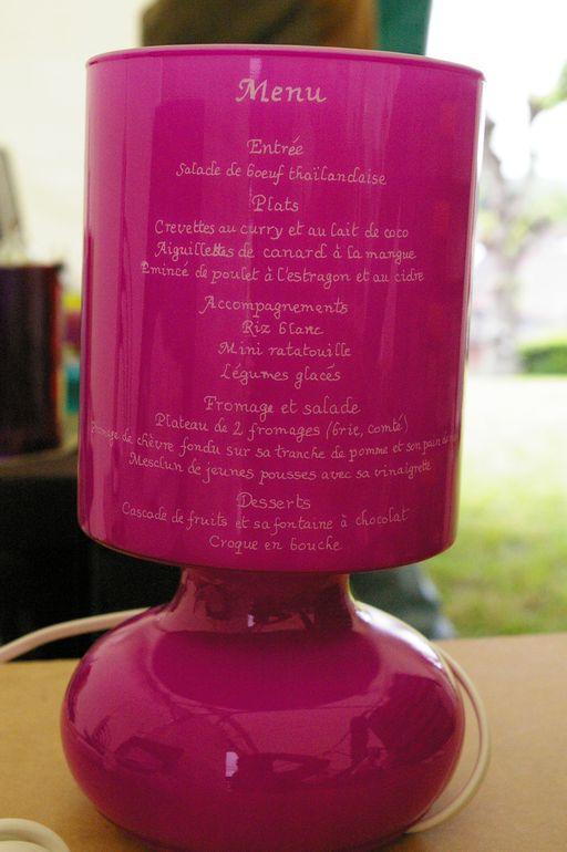 Lampe rose personnalisee pour le mariage de flo