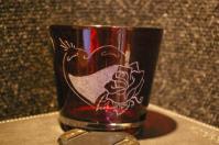 Photophore rouge grave pour st valentin