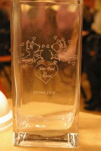 Vase rectangle grave pour la st valentin