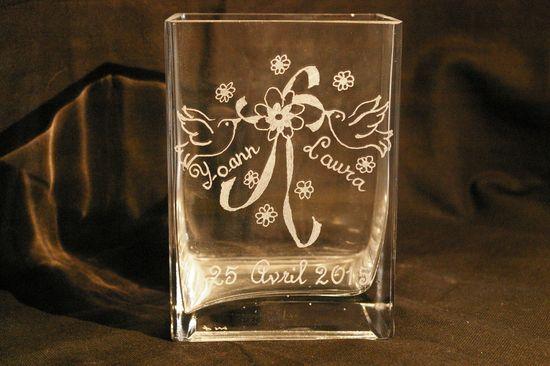 Vase rectangle personnalisee par la gravure pour un mariage