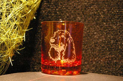 Verre a whisky de couleur personnalise par la gravure d un cocker